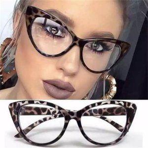 New! Brown Cat Eye Clear Glasses